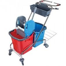 Вик: Тележка металлическая с держателем мешков для мусора и контейнером для расходных материалов, двухведерная
