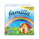 Бумажные салфетки: столовые 1сл 100листов 24х24 FAMILIA белые