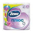 Бумага туалетная: Зева Плюс двухслойная бело-розовая Сирень