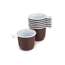 Одноразовая продукция: Чашка кофейная 180мл бело-коричневая